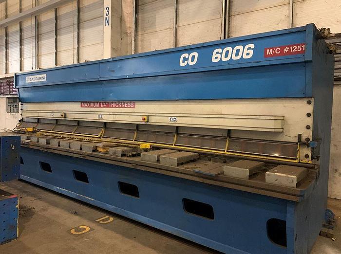 """Used 1/4"""" x 20' Gasparini CNC Hydraulic Shear"""
