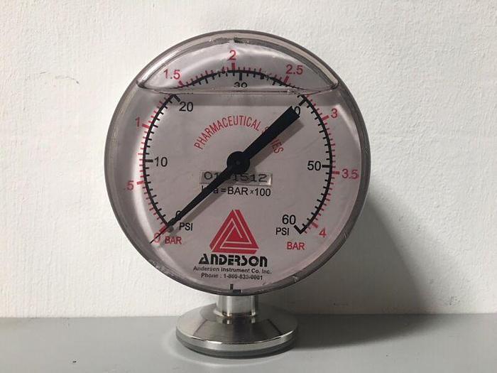 Used Anderson Pharmaceutical Series Pressure Gauge 0-60 PSI