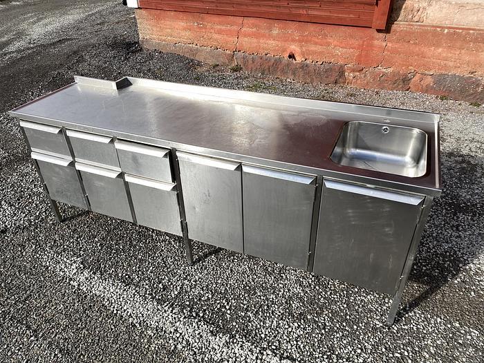 Refurbished Rostfritt Arbetsbord 240x70cm