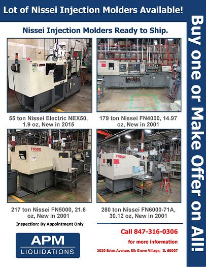 Used Lot of Nissei Injection Molders Available!