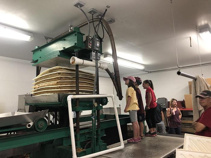 """Used OESCO 36"""" DOUBLE HOPPER CAR APPLE/CIDER PRESS PRODUCES UP TO: 350-400 GAL./HR. @ AMERICA'S STEAM KETTLE HEADQUARTERS !"""