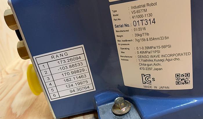 2016 DENSO VS-6577M 6 AXIS CNC ROBOT 7 KG X 854MM REACH RC8 CONTROLLER MINT