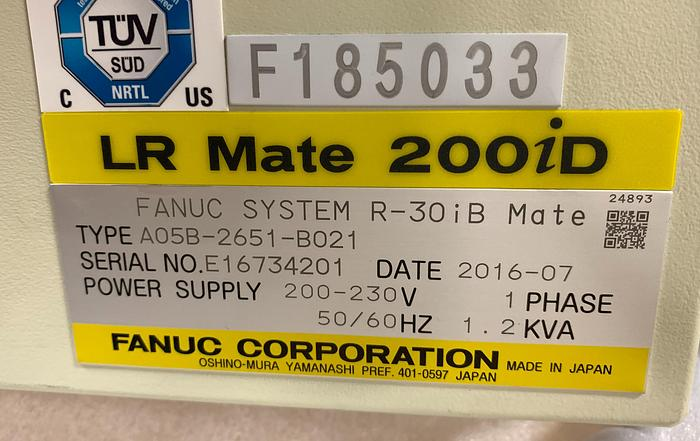 FANUC LR MATE 200ID/7C CLEAN ROOM 6 AXIS ROBOT WITH R30IB MATE