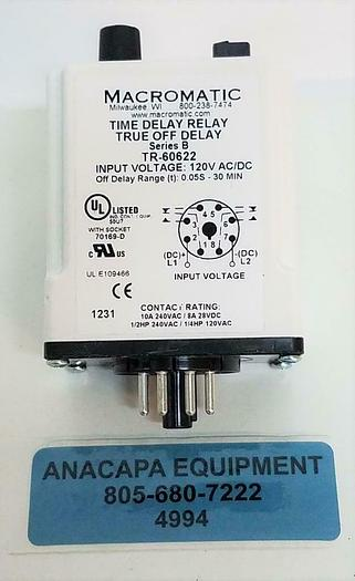 Macromatic Time Delay Relay TR-60622 Series:B 30min 120V 8Pin 10A DPDT NEW (4994