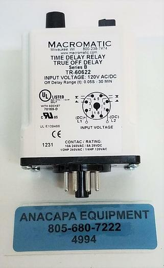 Macromatic Time Delay Relay TR-60622 Series:B 30min 120V 8Pin 10A DPDT NEW (4994 801262055476