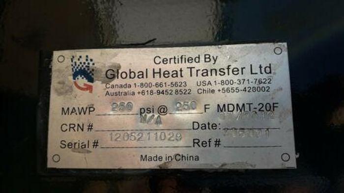 GLOBAL HEAT TRANSFER LTD HEAT EXCHANGER/COOLER MAWP 250PSI @250