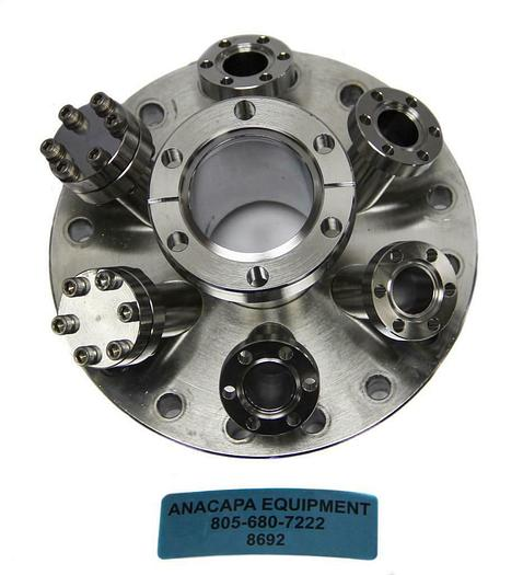 "Used MDC Vacuum Multi Port Flange, 6""x6-1.33"" Angled Ports, DN100, 409005 (8692)W"