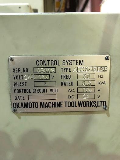 "6"" x 18"" Okamoto ACC-618-DX3 Horizontal Surface Grinder"