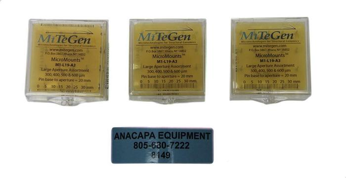 MiTeGen M1-L19-A3, MicroMounts Aperture Assortment 300-600µm Lot of 3 (8149)W