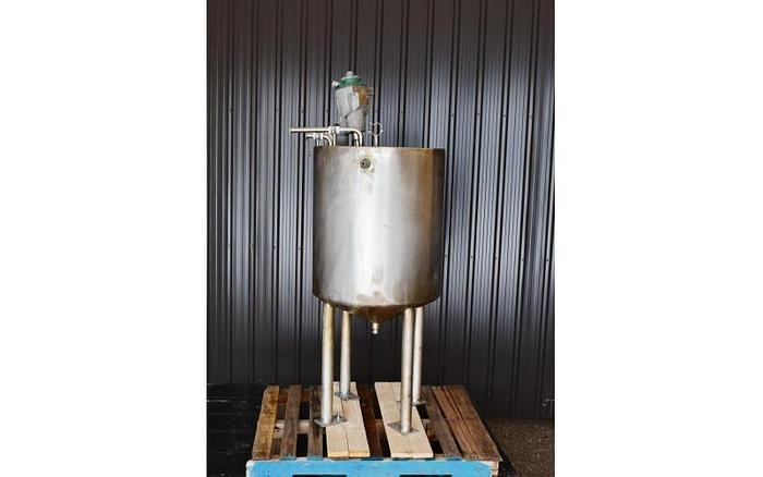Used USED 70 GALLON JACKETED TANK, STAINLESS STEEL WITH CLAMP ON SPX LIGHTNIN MIXER