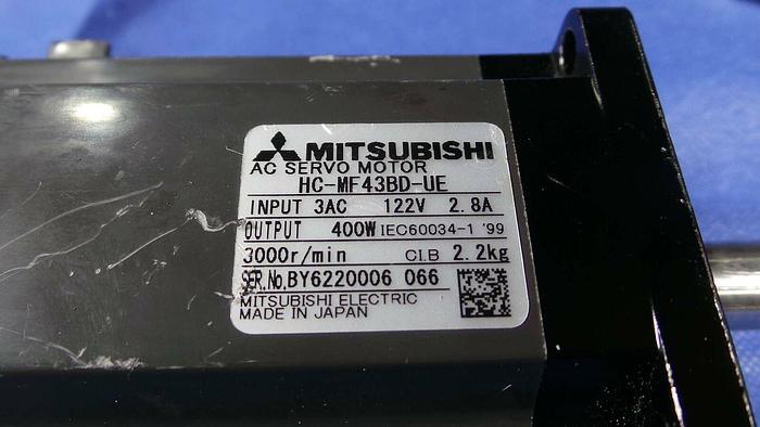Used Mitsubishi HC-MF43BD-UE Motor, AC Servo Motor / 3AC /122V / 2.8A / 400W / 3000r/min