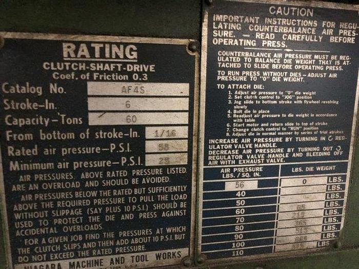 60 Ton, NIAGARA, No. AF4S, AIR CLUTCH & BRAKE, DUAL PALM BUTTONS [5058]