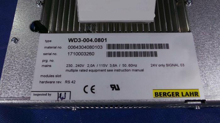 Used Berger Lahr WD3-004.0801 Servo Driver,230/240V 2.0A/115v 3.6A/50-60 Hz Rev RS42 Controlle