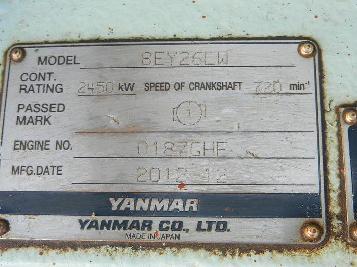 Yanmar 8EY26LW generator in very good condition.
