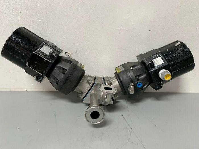 """Used 2 ITT Sherotec 4-way Stainless Steel Valve w/ Position Monitors & 1""""/2"""" Fittings"""