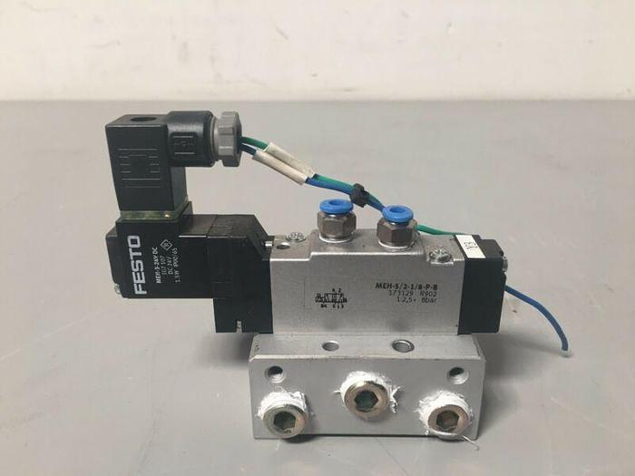 Used Festo MEH-3/24VDC / MEH-5/2-1/8-P-B Solenoid Valve
