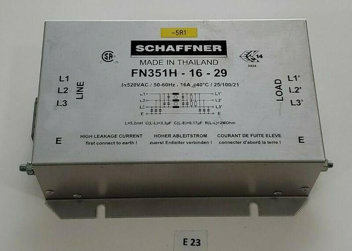 Used *PREOWNED* Schaffner FN351H-16-29 Power Line Filter 3x520 VAC 60Hz + Warranty!