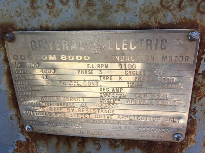 Used HB18254 electric motor GE 300 HP 4160 volts
