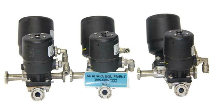 "Used ITT .5"" AP0506, .5"" APBT6 Tandem Diaphragm Valve, .5-316L-RA20MAX Lot of 3 (6770"