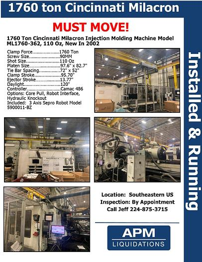 Used 2002 Cincinnati Milacron 1760 ton Injection Molding Machine, 110oz, 2002 ML1760-362