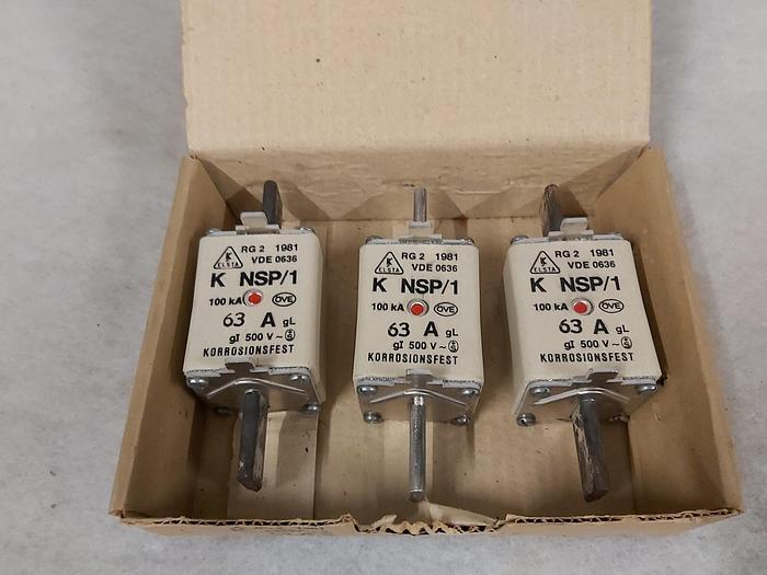 3 Stück NH Sicherungseinsätze Größe 1, 63A, NSP/1, 500V, Elsta,  neuwertig
