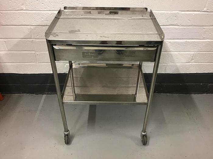 Used Trolley stainless steel 2 shelves 600x460mm and drawer