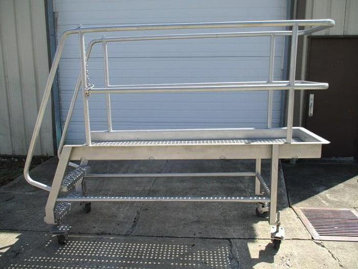 """Used Work Platform; 23""""Wx7'L, with Stairs on Casters"""