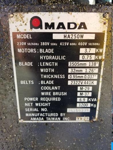 Amada HA-250W Automatic Horizontal Band Saw