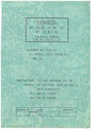 Used Manual for Used Femco CNC Lathe HL 35, HL 45, HL 55S, WT 50, WT 60 Electrical, Ladder Manual