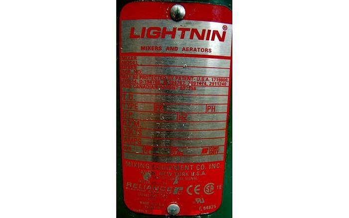 USED LIGHTNIN TOP ENTRY MIXER, MODEL XJC 87, 1 HP