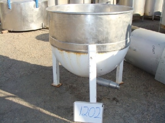 """Lee Metals 150 Gal. Jacketed Kettle Mfg. 1954 90 Psi rated mild steel outer jacket & support legs w/3 Tri-Clamp outlet"""" #1202"""