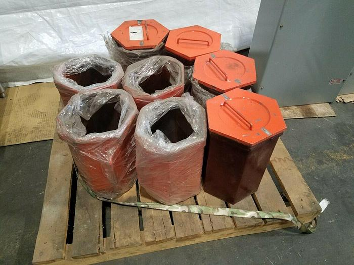 """Used 8 Dreher Hexagon High Speed Tumbling Barrels with liners 12"""" x 8"""""""