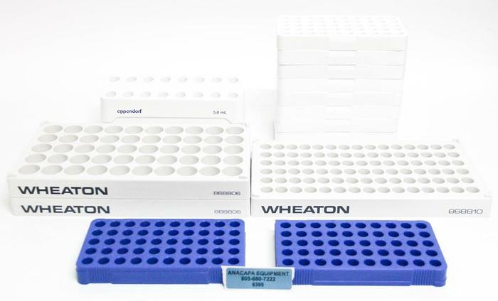 Used Nalgene Wheaton Eppendorf Lab Vial Racks, 5030-0510, 868806 LOT OF 15 (6395)