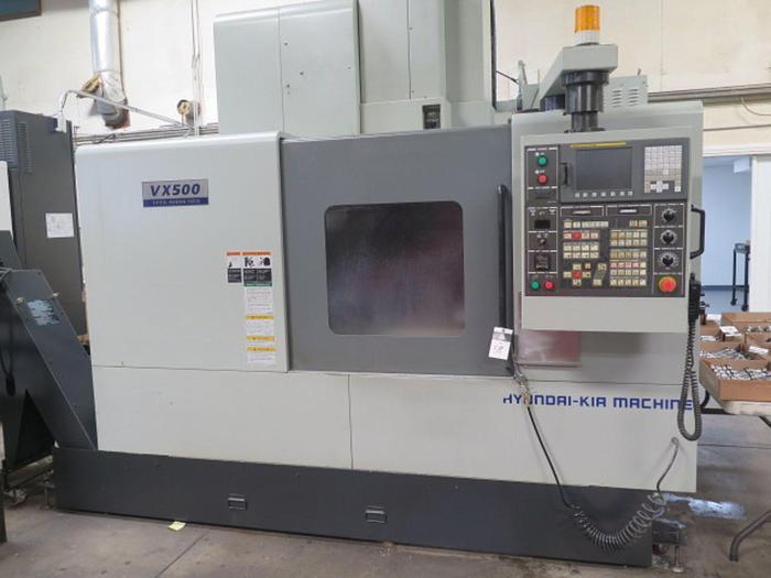 Used 2004 Hyundai WIA VX500 4-Axis CNC Vertical Machining Center w/ Hyundai WIA Fanuc i-Series Controls #5843