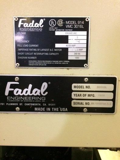 """FADAL VMC3016L CNC Vertical Mill W/ Extended Z"""""""
