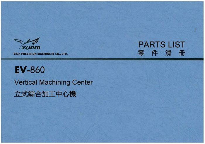 Used Manual for Used Yida CNC Machine Center EV-860 Parts List