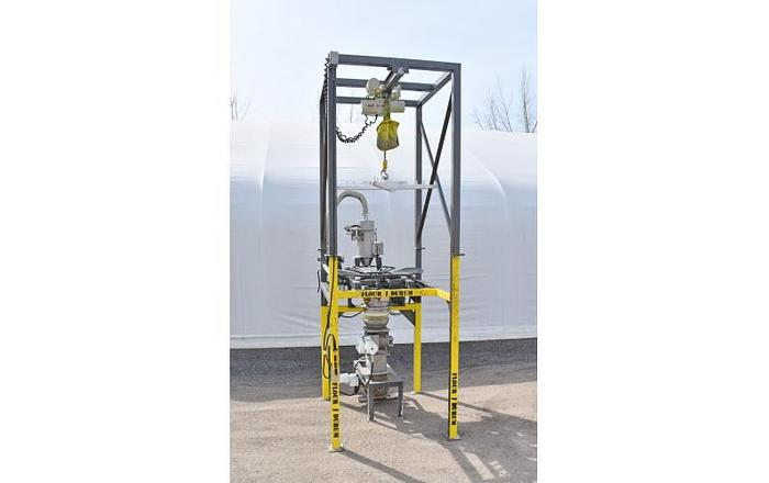 Used USED SHICK BULK SUPER SACK UNLOADER, WITH HOIST, BAG MASSAGERS, DUST COLLECTOR & ROTARY VALVES