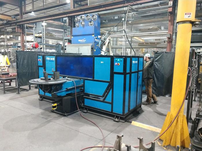 """OTC  WELD CELL WITH A/B TIL & ROTATE TABLES AND DUAL 72"""" CENTER  TRUNIONS INSTALLED IN 2016"""