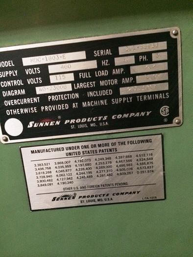 1988 SUNNEN SUNNEN HONING MACHINE MBC-1803