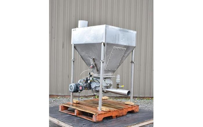 USED 100 GALLON TANK (HOPPER), STAINLESS STEEL, WITH ROTARY VALVE