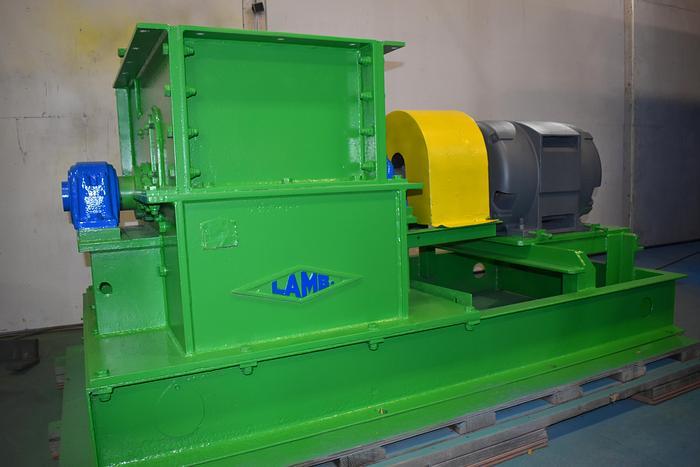 Used Lamb swing hammer hog, drop feed, bottom discharge