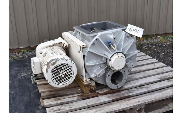 Used USED ROTARY AIR LOCK VALVE, SIZE: 10'' X 4'' BLOW-THROUGH, CAST ALUMINUM, SANITARY, REIMELT