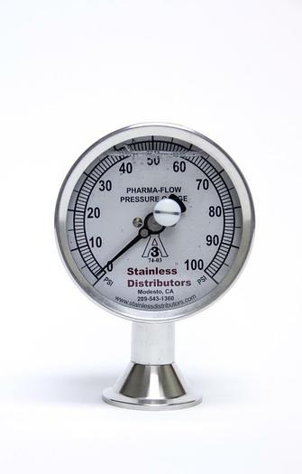 Used Stainless Distributors 100 PSI Pharma Flow Pressure Gauge 3P-D-15U-GF-BT (2561A)