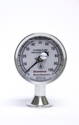 Used Stainless Distributors 100 PSI Pharma Flow Pressure Gauge 3P-D-15U-GF-BT (2561A)