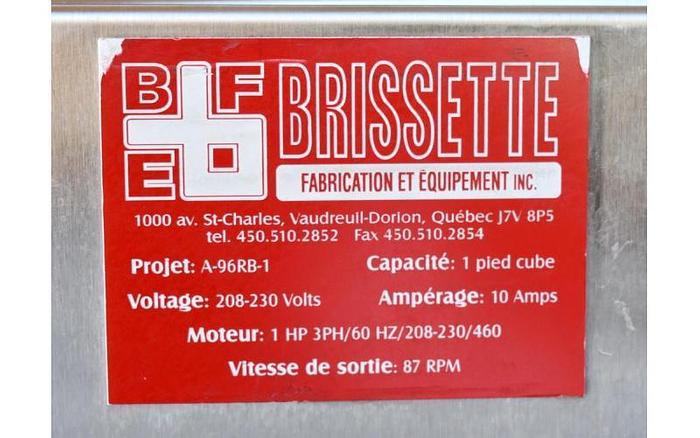 USED BRISSETTE RIBBON BLENDER, 1 CUBIC FOOT, STAINLESS STEEL, SANITARY