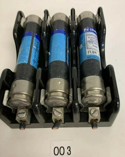 Used LITTELFUSE FLSR40 FUSE  FLSR 40 AMP  TIME DELAY 600 VOLT(LOT OF 3) W/ HOLDER