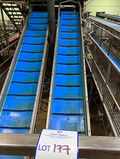 Used Stainless Steel Elevated Conveyor 5m L 0.7m W
