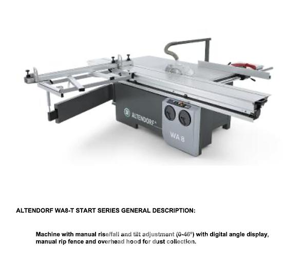 Used 2019 Altendorf WA8 3200 Sliding Table Saw