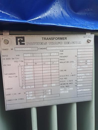 Used 2005 PAUWELS TRAFO BELGIUM INDUCTION FURNACE TRANSFORMER 3450 KVA X2