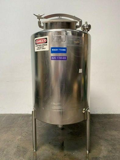 Used CSM 200 Gallon Stainless Steel Storage Tank w/ Bottom Drain & Dip Tube